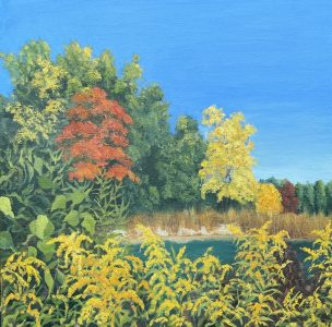 """Patty L Porter • <em>Marvin's Pond</em> • Oil on gallery wrapped canvas • 12""""×12"""" • $300.00<a class=""""purchase"""" href=""""https://state-of-the-art-gallery.square.site/product/patty-l-porter-marvin-s-pond/662"""" target=""""_blank"""">Buy</a>"""