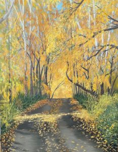 """Patty L Porter • <em>The Top of Sirrene Road</em> • Oil on gallery wrapped canvas • 18""""×24"""" • $800.00<a class=""""purchase"""" href=""""https://state-of-the-art-gallery.square.site/product/patty-l-porter-the-top-of-sirrene-road/669"""" target=""""_blank"""">Buy</a>"""