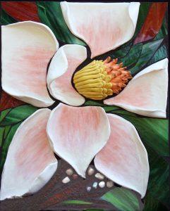 "Marjorie Hoffman • <em>Magnolia</em> • Mosaic • 18""×22"" • $900.00"
