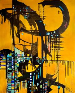 """Barbara Mink • <em>Reclaiming My Time</em> • Acrylic and ink • 48""""×60"""" • $3,200.00"""