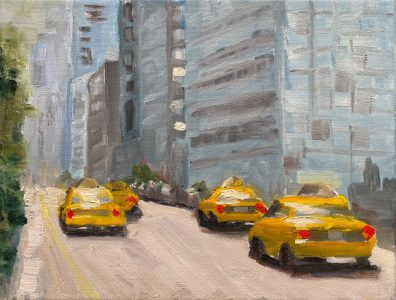 """Caryl Flickinger • <em>Taxi Anyone?</em> • Oil • 16""""×13"""" • NFS"""