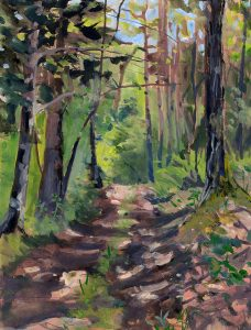 "Jennifer Gibson • <em>A Walk in the Woods</em> • Gouache on toned paper • 9""×12"" • $225.00"