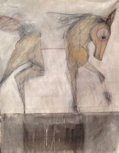 """<span class=""""award_name"""">1st Place</span>Ian Ratowsky • <em>Ghost Horse 7</em> • Mixed media on canvas • 56""""×68"""" • $17,000.00"""