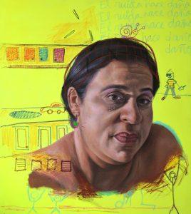 """Pedro Troncoso • <em>Casita de Madera</em> • Acrylic and crayon on canvas • 40""""×45"""" • $1,700.00"""