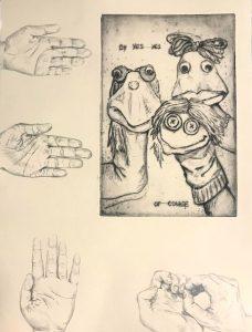 """Chelsea Whelham • <em>Whatever You Say</em> • Intaglio print, graphite pencil • 11""""×15"""" • $60.00"""