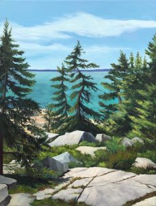 """Patty Porter • <em>Schoodic VII</em> • Oil on canvas • 18""""×24"""" • $550.00<a class=""""purchase"""" href=""""https://state-of-the-art-gallery.square.site/product/patty-porter-schoodic-vii/227?cp=true&sa=false&sbp=false&q=false&category_id=32"""" target=""""_blank"""">Buy</a>"""