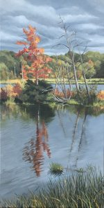 """Patty Porter • <em>Teeter Pond 2020</em> • Oil on canvas • 12""""×24"""" • $550.00<a class=""""purchase"""" href=""""https://state-of-the-art-gallery.square.site/product/patty-porter-teeter-pond-2020/229?cp=true&sa=false&sbp=false&q=false&category_id=32"""" target=""""_blank"""">Buy</a>"""