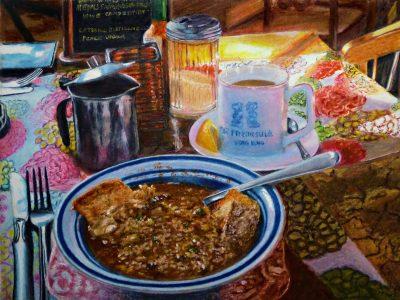"""Ed Brothers • <em>Lunch in Progress</em> • Oil pastel • 11½""""×8½"""" • NFS"""