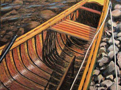 "Ed Brothers • <em>Salmon Brook Canoe</em> • Oil pastel • 11½""×8½"" • NFS"