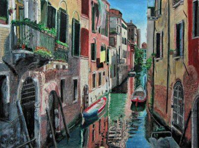 "Ed Brothers • <em>Venice 1</em> • Oil pastel • 11½""×8½"" • NFS"