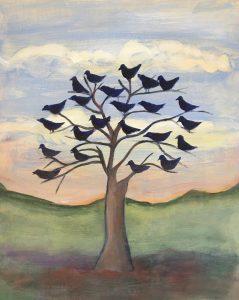 """Jane Dennis • <em>The Birds Agree</em> • 12""""×14"""" • $150.00"""
