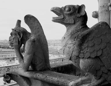 "Nancy V. Ridenour • <em>Gargoyles atop the Notre-Dame de Paris</em> • Archival inkjet on canvas • $150.00<a class=""purchase"" href=""https://state-of-the-art-gallery.square.site/product/nancy-v-ridenour-gargoyles-atop-the-notre-dame-de-paris/349"" target=""_blank"">Buy</a>"