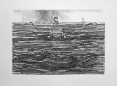 """Kim Schrag • <em>Rising Water</em> • Graphite on paper • 33½""""×25½"""" • $1,500.00<a class=""""purchase"""" href=""""https://state-of-the-art-gallery.square.site/product/kim-schrag-rising-water/356"""" target=""""_blank"""">Buy</a>"""