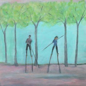 Jane Dennis • <em>Stilt-walkers Distancing</em> • Acrylic • NFS