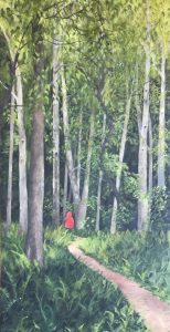 """Patty L Porter • <em>Monkey Run Red</em> • Oil on canvas • 19¾""""×37½"""" • $1,100.00<a class=""""purchase"""" href=""""https://state-of-the-art-gallery.square.site/product/patty-l-porter-monkey-run-red/422"""" target=""""_blank"""">Buy</a>"""