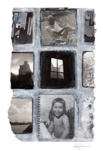 """Kathy Morris • <em>Dad-Window-City</em> • Mixed media/digital print • 13""""×19"""" • $150.00<a class=""""purchase"""" href=""""mailto:kathy@kathymorris.net?subject=Inquiry about Dad-Window-City"""" target=""""_blank"""">Contact</a>"""
