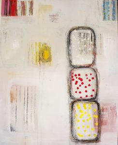 """Ethel Vrana • <em>Dots and Stripes</em> • Oil on canvas • 16""""×20"""" • $475.00<a class=""""purchase"""" href=""""https://state-of-the-art-gallery.square.site/product/ethel-vrana-dots-and-stripes/513"""" target=""""_blank"""">Buy</a>"""