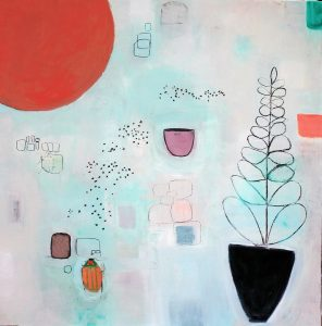 """Ethel Vrana • <em>Rising</em> • Oil on canvas • 36""""×36"""" • $1,240.00<a class=""""purchase"""" href=""""https://state-of-the-art-gallery.square.site/product/ethel-vrana-rising/497"""" target=""""_blank"""">Buy</a>"""