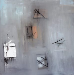 """Ethel Vrana • <em>White, Black, Grey and Pink</em> • Oil on canvas • 36""""×36"""" • $1,240.00<a class=""""purchase"""" href=""""https://state-of-the-art-gallery.square.site/product/ethel-vrana-white-black-grey-and-pink/502"""" target=""""_blank"""">Buy</a>"""