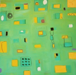 """Ethel Vrana • <em>Yellow-orange and Green</em> • Oil on canvas • 36""""×36"""" • $1,240.00<a class=""""purchase"""" href=""""https://state-of-the-art-gallery.square.site/product/ethel-vrana-yellow-orange-and-green/501"""" target=""""_blank"""">Buy</a>"""