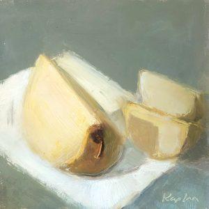 "Ileen Kaplan • <em>Asian Pears</em> • Oil on panel • 8""×6"" • $50.00<span class=""sold""></span>"