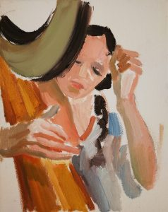"Irina Kassabova • <em>Harp Player III</em> • Oil on canvas • 8""×10"" • $35.00<span class=""sold""></span>"