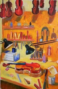 """Irina Kassabova • <em>The Luthier's Corner</em> • Oil on canvas • 26""""×38"""" • $550.00<a class=""""purchase"""" href=""""https://state-of-the-art-gallery.square.site/product/irina-kassabova-the-luthier-s-corner/575"""" target=""""_blank"""">Buy</a>"""