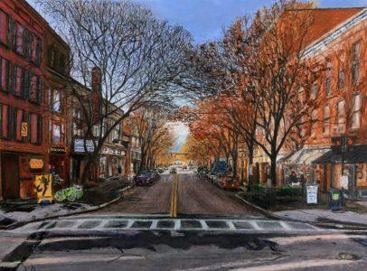 "Ed Brothers • <em>State Street, November</em> • Print on watercolor paper; artist proof • 11½""×8½"" • NFS"