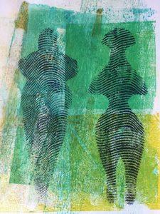 "Patricia Brown • <em>Primordial #28</em> • Mono-print, acrylic on paper • 11""×14"" • $50.00"