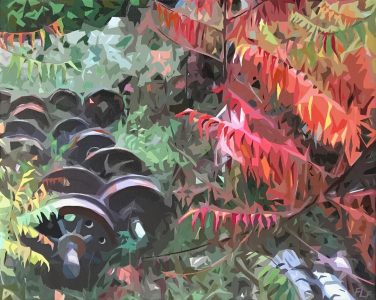 """Frances Fawcett • <em>Wheels, Sumac</em> • Acrylic paint & Ultrachrome ink on canvas • 21½""""×17½"""" • $650.00<a class=""""purchase"""" href=""""https://state-of-the-art-gallery.square.site/product/frances-fawcett-wheels-sumac/646"""" target=""""_blank"""">Buy</a>"""
