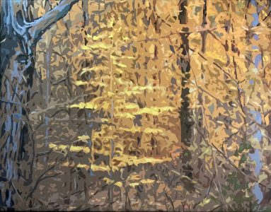 """Frances Fawcett • <em>Glowing Beech</em> • Acrylic paint & Ultrachrome ink on canvas • 21½""""×17½"""" • $650.00<a class=""""purchase"""" href=""""https://state-of-the-art-gallery.square.site/product/frances-fawcett-glowing-beech/650"""" target=""""_blank"""">Buy</a>"""