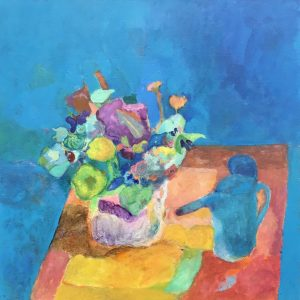 """Vincent Joseph • <em>Watering Can and Flowers</em> • Acrylic • 24""""×24"""" • $750.00<a class=""""purchase"""" href=""""https://state-of-the-art-gallery.square.site/product/vincent-joseph-watering-can-and-flowers/648"""" target=""""_blank"""">Buy</a>"""