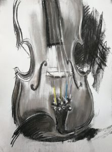 """Irina Kassabova • <em>The Color of the Strings</em> • Charcoal and pastel • $450.00<a class=""""purchase"""" href=""""https://state-of-the-art-gallery.square.site/product/irina-kassabova-the-color-of-the-strings/620"""" target=""""_blank"""">Buy</a>"""