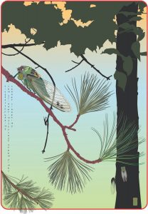 "Margy Nelson • <em>Cicada Summer</em> • Ultrachrome ink on Epson Watercolor paper • 9""×12"" • $50.00"