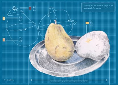 """Margy Nelson • <em>Blueprint for Two Pears</em> • Limited edition digital print • 18""""×14"""" • $180.00<a class=""""purchase"""" href=""""https://state-of-the-art-gallery.square.site/product/margy-nelson-blueprint-for-two-pears/629"""" target=""""_blank"""">Buy</a>"""