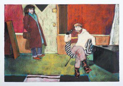 """Diane Newton • <em>Chicago Friends</em> • Pastel on black Arches paper • 44""""×30"""" • NFS"""