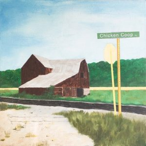 """Don Ellis • <em>Chicken Coop Road</em> • Acrylic on canvas • 17½""""×17½"""" • $340.00<a class=""""purchase"""" href=""""https://state-of-the-art-gallery.square.site/product/don-ellis-chicken-coop-road/672"""" target=""""_blank"""">Buy</a>"""