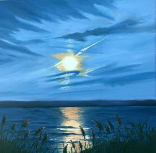 """Patty L Porter • <em>Cayuga Moon Rise</em> • Oil on gallery wrapped canvas • 12""""×12"""" • $300.00<a class=""""purchase"""" href=""""https://state-of-the-art-gallery.square.site/product/patty-l-porter-cayuga-moon-rise/689"""" target=""""_blank"""">Buy</a>"""