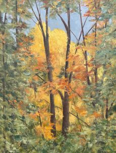 """Patty L Porter • <em>Cold Springs Road ~ Morning Light</em> • Oil on gallery wrapped canvas • 11""""×14"""" • $250.00<a class=""""purchase"""" href=""""https://state-of-the-art-gallery.square.site/product/patty-l-porter-cold-springs-road-morning-light/675"""" target=""""_blank"""">Buy</a>"""