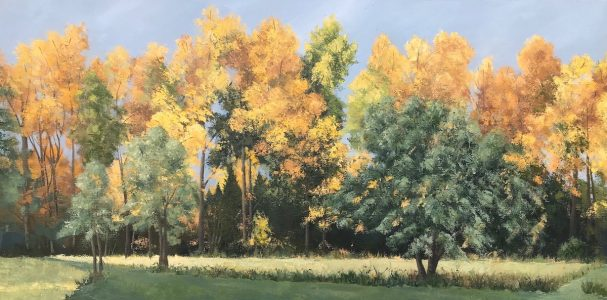 """Patty L Porter • <em>October's Curtain</em> • Oil on gallery wrapped canvas • 36""""×18"""" • $1,200.00<a class=""""purchase"""" href=""""https://state-of-the-art-gallery.square.site/product/patty-l-porter-october-s-curtain/677"""" target=""""_blank"""">Buy</a>"""