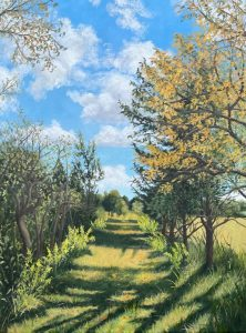 """Patty L Porter • <em>South on the Interlocken Trail</em> • Oil on gallery wrapped canvas • 18""""×24"""" • $800.00<a class=""""purchase"""" href=""""https://state-of-the-art-gallery.square.site/product/patty-l-porter-south-on-the-interlocken-trail/694"""" target=""""_blank"""">Buy</a>"""