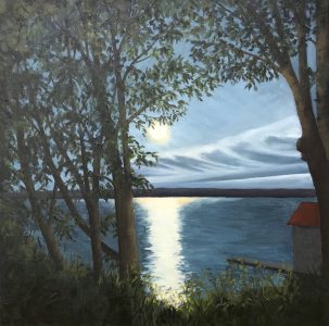 """Patty L Porter • <em>Summer Moon ~ Cayuga</em> • Oil on gallery wrapped canvas • 20""""×20"""" • $800.00<a class=""""purchase"""" href=""""https://state-of-the-art-gallery.square.site/product/patty-l-porter-summer-moon-cayuga/681"""" target=""""_blank"""">Buy</a>"""