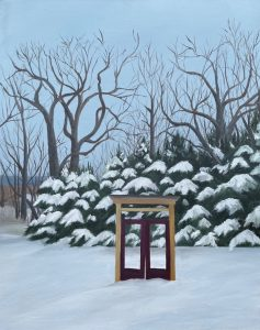 """Patty L Porter • <em>Winter's Gate</em> • Oil on gallery wrapped canvas • 16""""×20"""" • $550.00<a class=""""purchase"""" href=""""https://state-of-the-art-gallery.square.site/product/patty-l-porter-winter-s-gate/665"""" target=""""_blank"""">Buy</a>"""